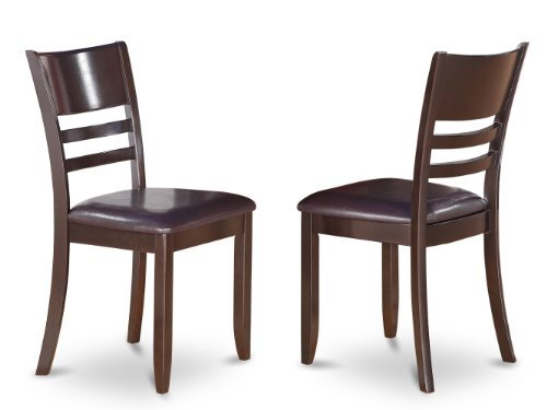 East West Furniture LYC-CAP-LC Dining Chair Set with Faux Leather Upholstered Seat, Cappuccino Finish, Set of 2