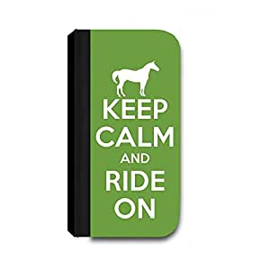 Keep Calm and Ride On, Green - Samsung Galaxy S5 Cover, Cell Phone Case - Wallet