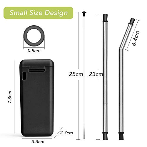 FlipSip Straw - Reusable, Collapsible, Stainless Steel Metal Drinking Straw w/Hard storage Case and Cleaning Brush by FlipSip Straw (Image #1)