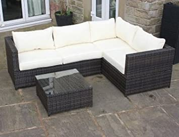592a5ef7d87f Image Unavailable. Image not available for. Colour: Brown Rattan 4 Seat  Corner Sofa Set Garden Patio Furniture 236