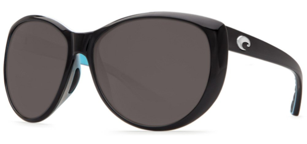 Costa Del Mar La Mar Sunglasses, Black/White/Aqua Blue, Gray 580Plastic Lens