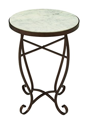 Stone Accent Table - Deco 79 45692 Metal Marble Round Accent Table, 16