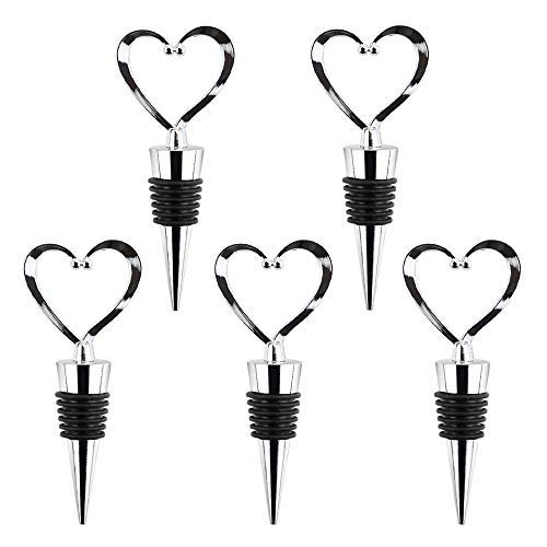 WFPLUS 5 Pack Stainless Steel Love Design Wine and Beverage Bottle Stoppers, Heart Shape