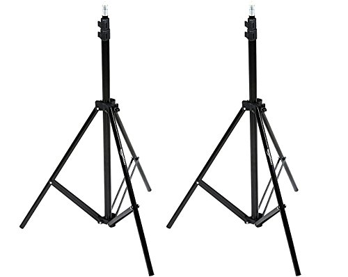 AmazonBasics Aluminum Light Photography Tripod Stand with Case - Pack of 2, 2.8 - 6.7 Feet, Black (Aluminum Kit Stand Mini)