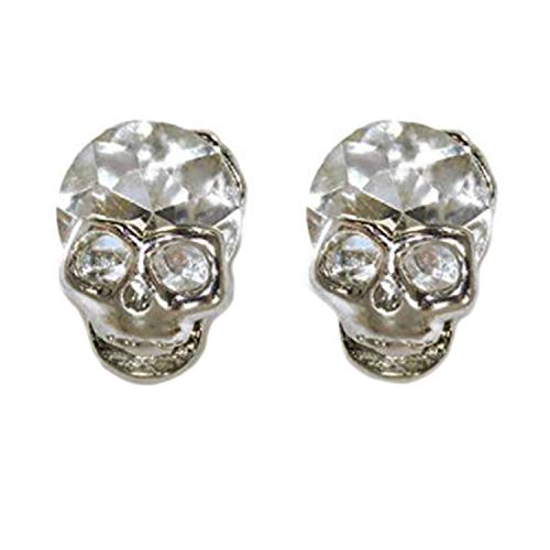 Shiny Silver Skeleton Skull Head Halloween Earring Post Studs with ()