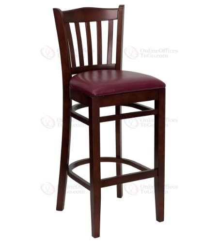 HERCULES Series Mahogany Finished Vertical Slat Back Wooden Restaurant Bar Stool with Burgundy Vinyl Seat