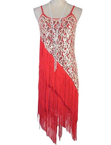 KAYAMIYA Women's 1920S Sequin Paisley Tiered Tassel Gatsby Flapper Dress S Red