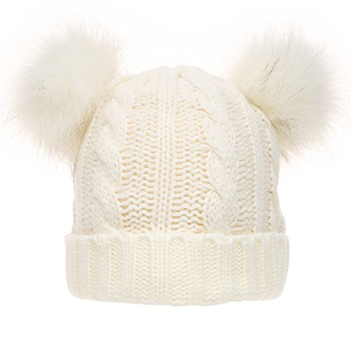 Women's Winter Cable Knitted Faux Fur Double Pom Pom Beanie Hat with Plush Lining. (White)