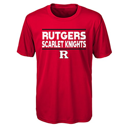 Gen 2 NCAA Rutgers Scarlet Knights Youth Boys Short Sleeve Performance Tee, Youth Boys Large(14-16), Red
