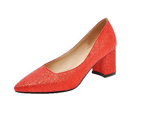 AmoonyFashion Womens Pointed-Toe PU Kitten-Heels Pull-On Studded Pumps-Shoes Red CteYP