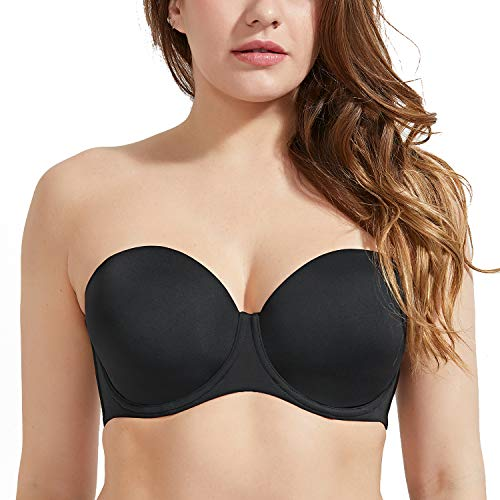 (DELIMIRA Women's Seamless Contour Underwire Full Figure Multiway Strapless Bra Black-Without Silicone 38E)