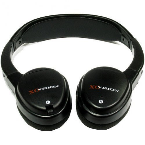 XO Vision Universal Infrared Wireless Foldable Headphones for In-Car TV, DVD, & Video Listening - Black (IR620)