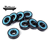 Rollast Skateboard Bearings Set Of 8 By Pre-Lubricated Bearings For Longboard, Roller Blades, Scooters And Fidget Spinners, Long Lasting With Removable Rubber Shields, High Precision, Fast Spinning