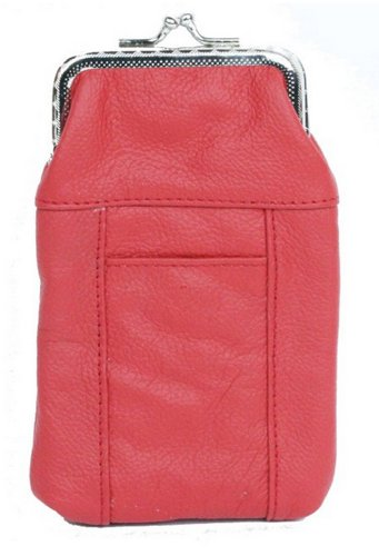 Womens Leather Cigarette Case & Lighter Holder (Red) ()