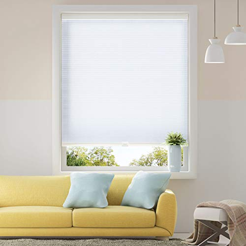 Honeycomb Cellular Shades Cordless Light Flitering for Windows Inside & Outside Mount, 46 x 48 inch, White(Light ()