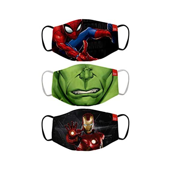 Bon Organik Mighty Avengers (OFFICIAL MERCHANDISE) 2 Ply Printed Cotton Cloth Face Mask Bundle For Kids (Set Of 3) (4-8Y