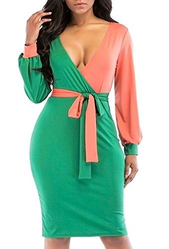 CASILY Womens Vogue Long Lantern Sleeve V Neck Waist Belt Sexy Slim Fit Dresses For Party Green,M
