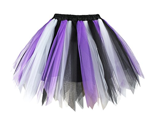 V28 Women's Teen's 1950s Vintage Tutu Tulle Petticoat Ballet Bubble Skirt (Regular Size (US: 0-12), Black+White+Purple) (Black And Purple Tutu Skirt)