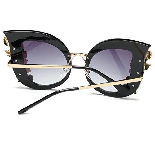 de Orejas Sol Sol Sol C de Con Gafas de Gafas Mujer Logobeing Grandes Gafas de Marca Gato de CláSica 5Hzxqw4