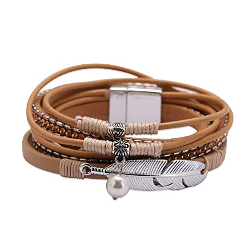 cc88037bf35 Exweup Feather Bracelet for Women Leather Wrap Bracelet with Dangle Pearl  Bohemian Jewelry Wristband Gorgeous Wrap Bracelet with Magnetic Buckle for  Girls ...