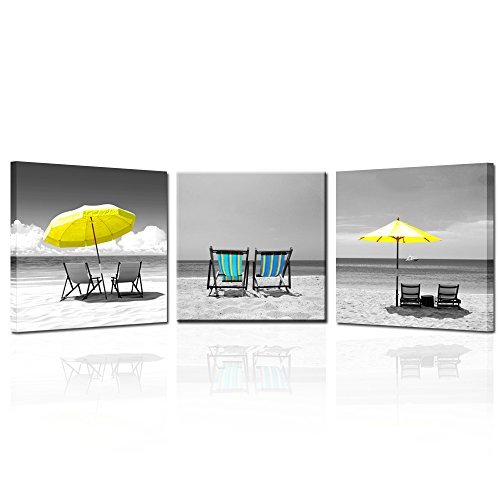Kreative Arts – 3 Pieces Canvas Print Wall Art Black and White Beach of Hawaii Seascape with Yellow Unbrella Picture Giclee Stretched and Framed Artwork for Living Room Decor 16x16inchx3pcs