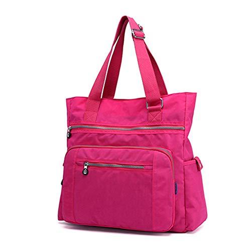 (Multi Pocket Nylon Totes Handbag Large Shoulder Bag Travel Purse Bags For Women (X-Rose Red) )