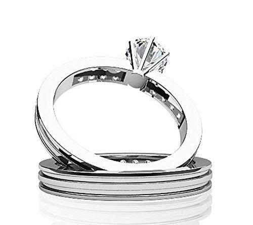 14K Or blanc Bande de diamant Centre mise au point de mariage Ensemble