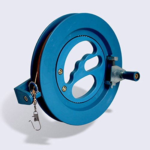(Glow Castle Professional outdoor kite string flight tool winder handle of the scroll wheel lock-Blue (6.2in))