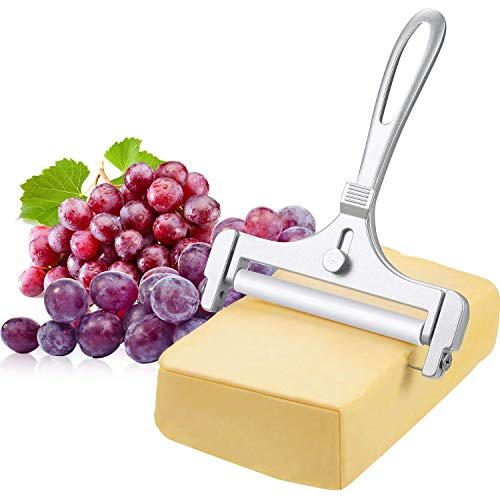 HYAM Stainless Steel Cheese Slicer, Adjustable Thickness Wire Cheese Cutter, Perfectly for Soft Semi-Hard Cheeses Kitchen Cooking Tool
