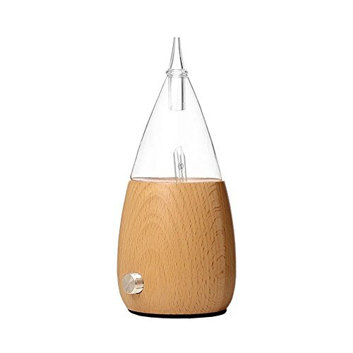 Nebulizing Essential Oil Diffuser Lychee Wood Base & Glass with Changing Color LED Light Aroma Nebulizer Diffuser, No Heat, No Water, No Burn Relaxing Aromatherapy Diffuser (Light Wood)
