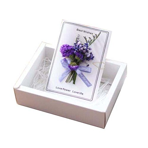 Pressed Flower Card - Real Pressed Dried Flowers Thank You Cards With Gift Boxes And Gift Bag
