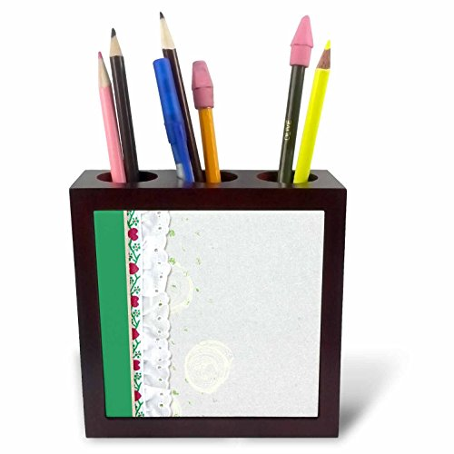3dRose Beverly Turner Designs - White Eyelet, Red Hearts Green Vine, Painted Look - 5 inch tile pen holder (Gloss Eyelet)