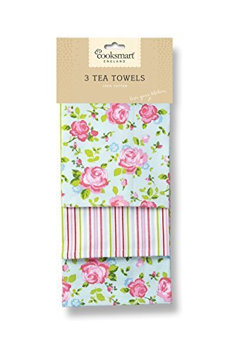 Cooksmart Tea Towels, Pack of 3, Vintage Floral by Cooksmart