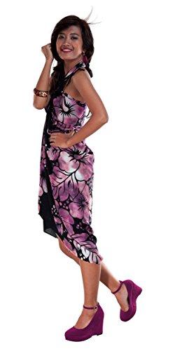 1 World Sarongs Donna Pareo Copricostume Sfumato Ibisco Floreale Viola