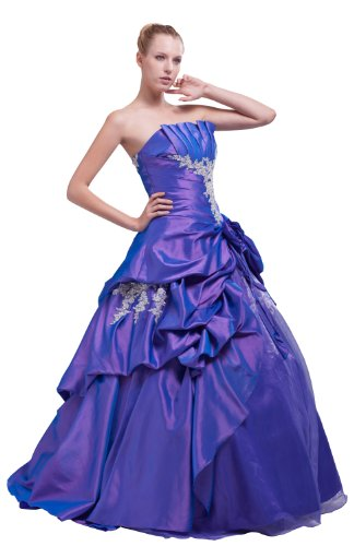ImPrincess ip4-5187-8 Wedding Dress Medieval Style Scalloped Strapless Tie Delicate Beading Lace Applique Long Sweep Ball gown Purple (Tie Dress Strapless Taffeta)
