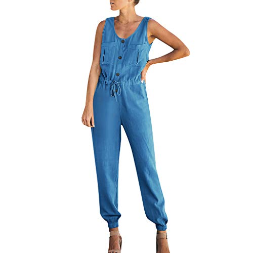 Womens Jumpsuits Casual Button V Neck Sleeveless Drawstring High Waist Tapered Leg Rompers Cotton Long Pants (Blue, 2XL)