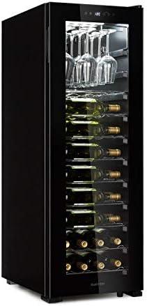 Klarstein Bellevin 62 - Nevera para vinos, Zona única de refrigeración, 173 litros de capacidad, Puerta panorámica, Cristal doble, Portacopas ChilledGlas, PureAmbience, Clase G, Negro[Clase de eficiencia energética G]