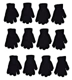 OPT Brand. Kids Magic Stretch Gloves Children Youth Knit All Purpose Gloves Wholesale 12 Pairs (6 to 16 years) (Black)
