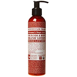 Dr. Bronner's & All-One Organic Lotion for Hands & Body, Orange Lavender, 8-Ounce Pump Bottle 84 Scented with pure lavender and ligandin oils to calm the mind and soothe the body and citrus for and invigorating touch Organic Jojoba oil to heal and soothe, Organic coconut oil to moisturize, Organic hemp and avocado oils to keep skin smooth and supple Good for most skin types, sensitive-dry-rough-or combination