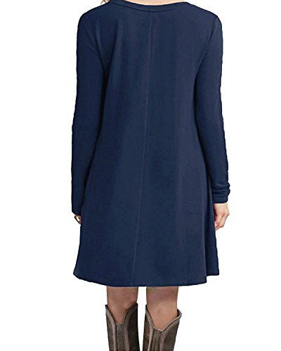 Navy Fall Tunic Women's Shirt Loose T Long Dresses Winter American Trends Dress Casual Plain Sleeve Ywq56f