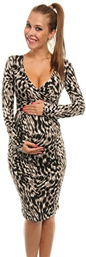 Happy Mama Women?s Pregnancy Maternity Animal Print Easy Breastfeeding Dress 285aC