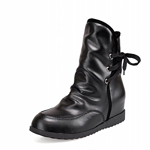 Latasa Womens Chic Pleated Lace-up Plaid Inside Mid-heel Ankle-high Casual Boots Black nxqGQVED