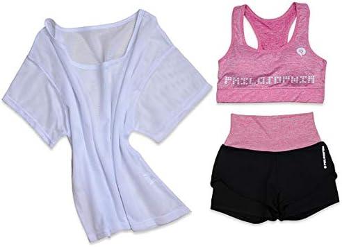 レディースジャージ上下セット 女性ハイウエストスリーピースヨガセットスポーツウェアブラフィットネス服 (Color : Green, Size : XL)