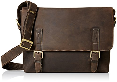 Visconti Wesley Large Distressed Leather Messenger Shoulder Bag Handbag, Brown