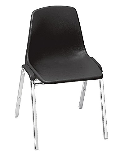 National Public Seat Poly Shell Stack Chair Fabric Color: Black, Frame Color: Chrome electronic consumers ()