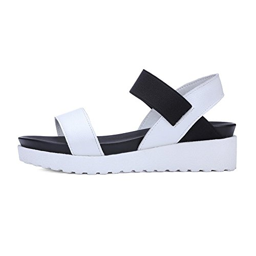 BalaMasa Ladies American Muffin Buttom Bungee Soft Material Sandals White dXPxyGWv