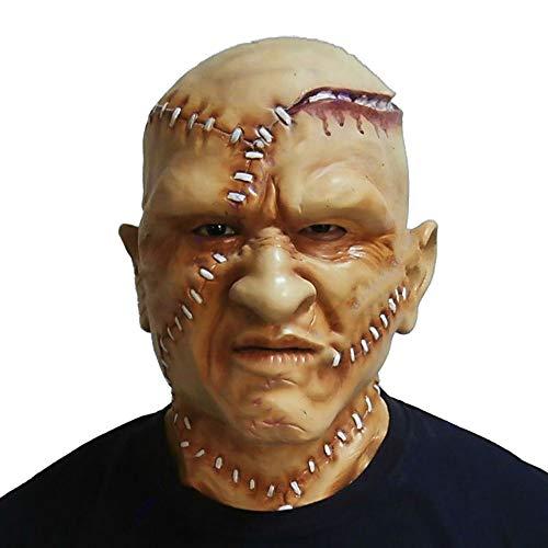 Realistic Human Face Masks, Scary Latex Man Bald Head Mask Halloween Costume Fancy Dress Brown ()