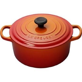 Le Creuset LS2552-302 Signature Enameled Cast Iron Wide Round Dutch Oven, 6-3/4 quart, Flame