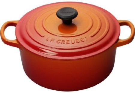 Le Creuset LS2552-302 Signature Enameled Cast Iron Wide Round Dutch Oven, 6-3/4 Quart, Flame