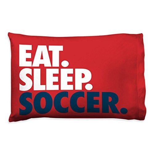 Eat. Sleep. Soccer. Pillowcase   Soccer Pillows by ChalkTalk Sports   Red